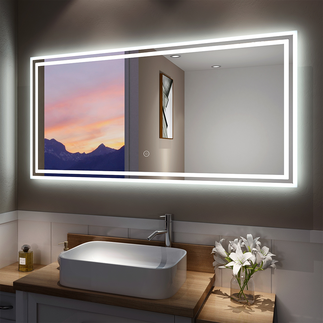 Details About Led Bathroom Lighted Mirror Illuminated Wall Touch Light Vanity Makeup 48 X24