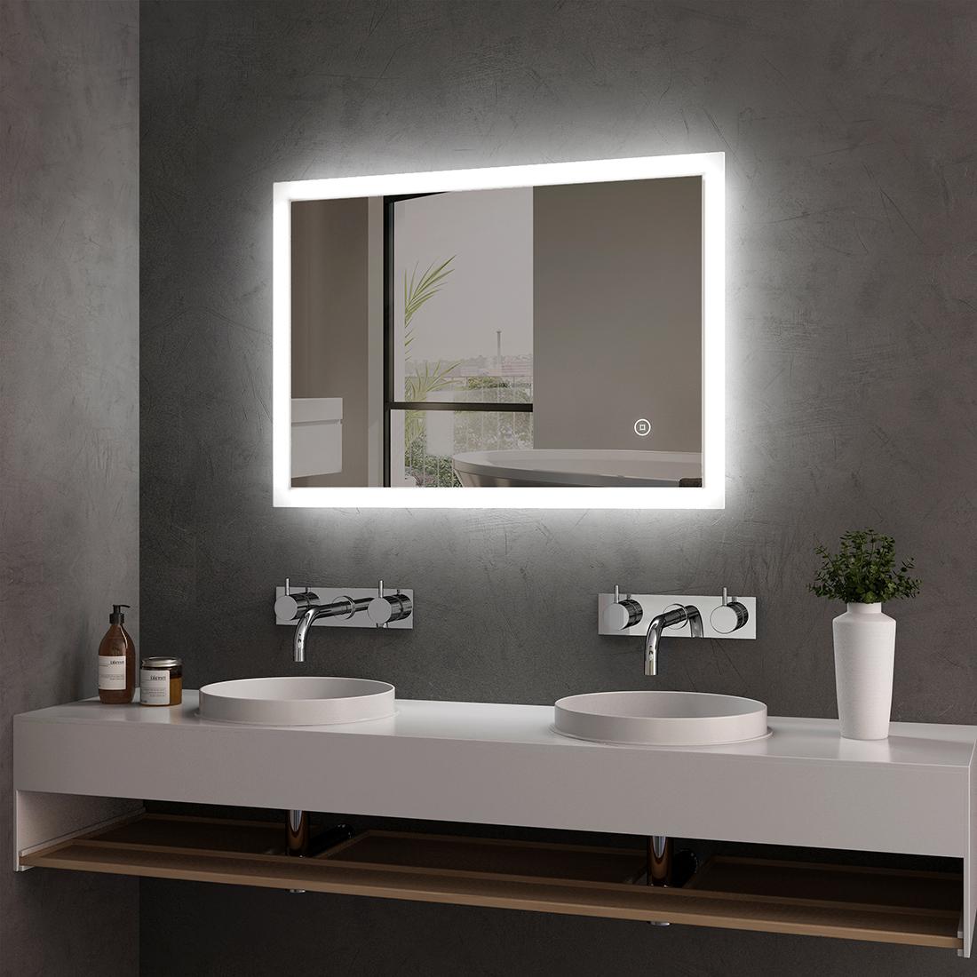 LED Badspiegel 70x50 cm mit Touch Beleuchtung Beschlagfrei Badezimmerspiegel