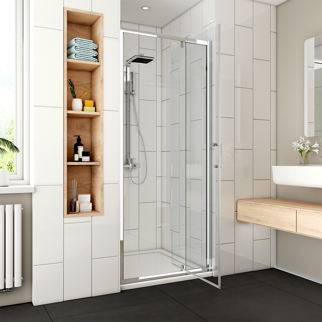 Details About 31 36 1 2 X 72 Framed Pivot Swing Shower Door 1 4 Clear Glass Chrome Finish
