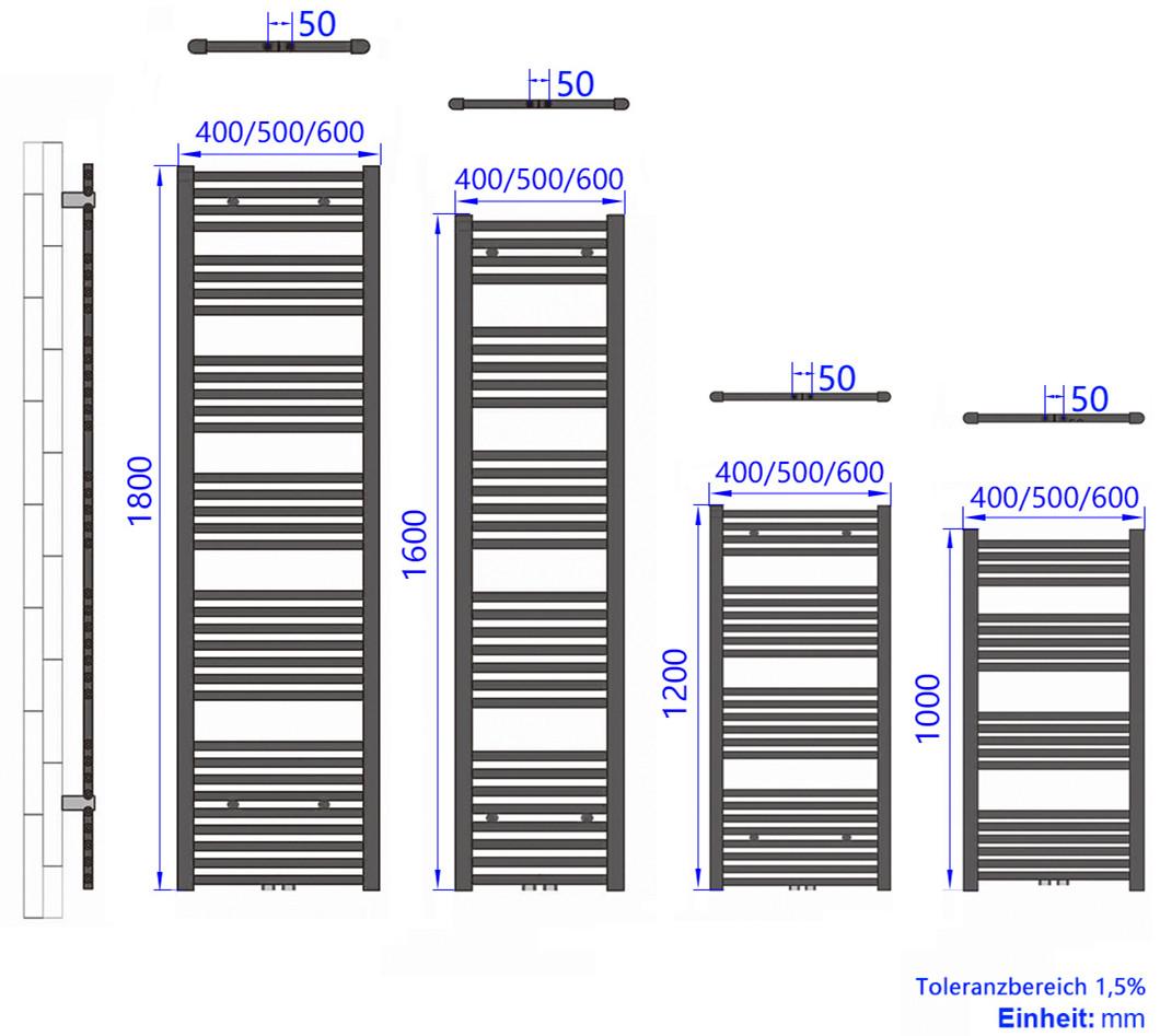Badheizk/örper Handtuchtrockner Heizk/örper 1600x500mm 802 Watt Leistung Antrazit Bad-Heizk/örper Bad Mittelanschluss Heizung
