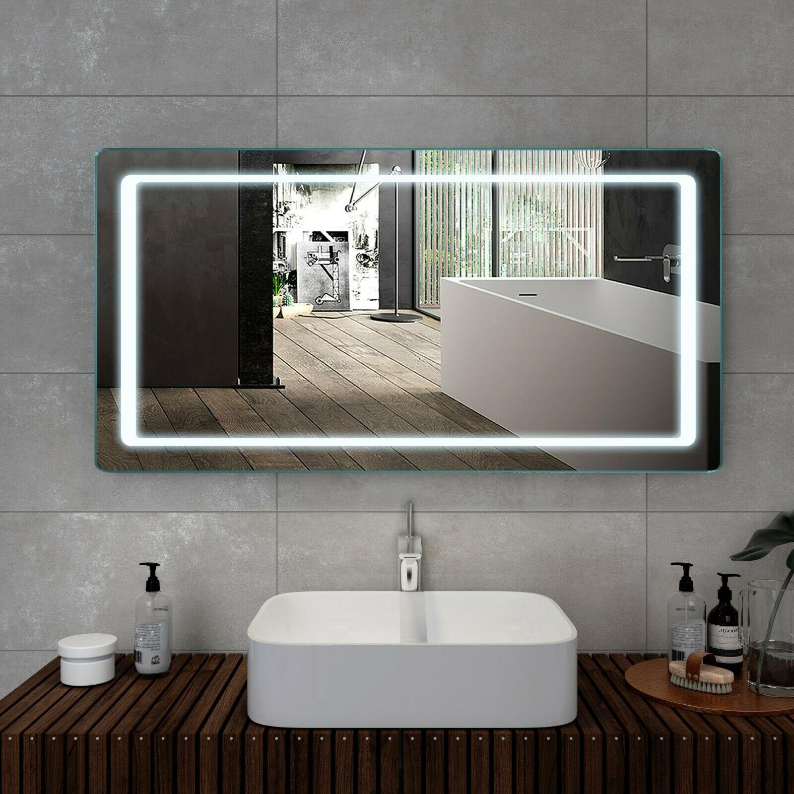 Details zu LED Badspiegel 120x60 Badezimmerspiegel mit Beleuchtung Wandspiegel Lichtspiegel