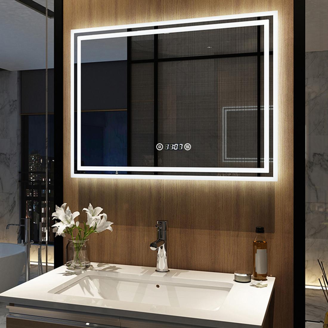Details zu Badezimmerspiegel 9x9 mit Uhr Touch Dimmbar Helligkeit  Badspiegel LED Spiegel