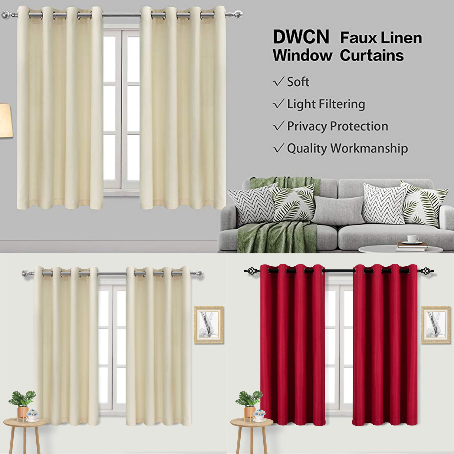 Details About Faux Linen Curtains Room Darkening Grommet 2 Panels Curtains Privacy Protection