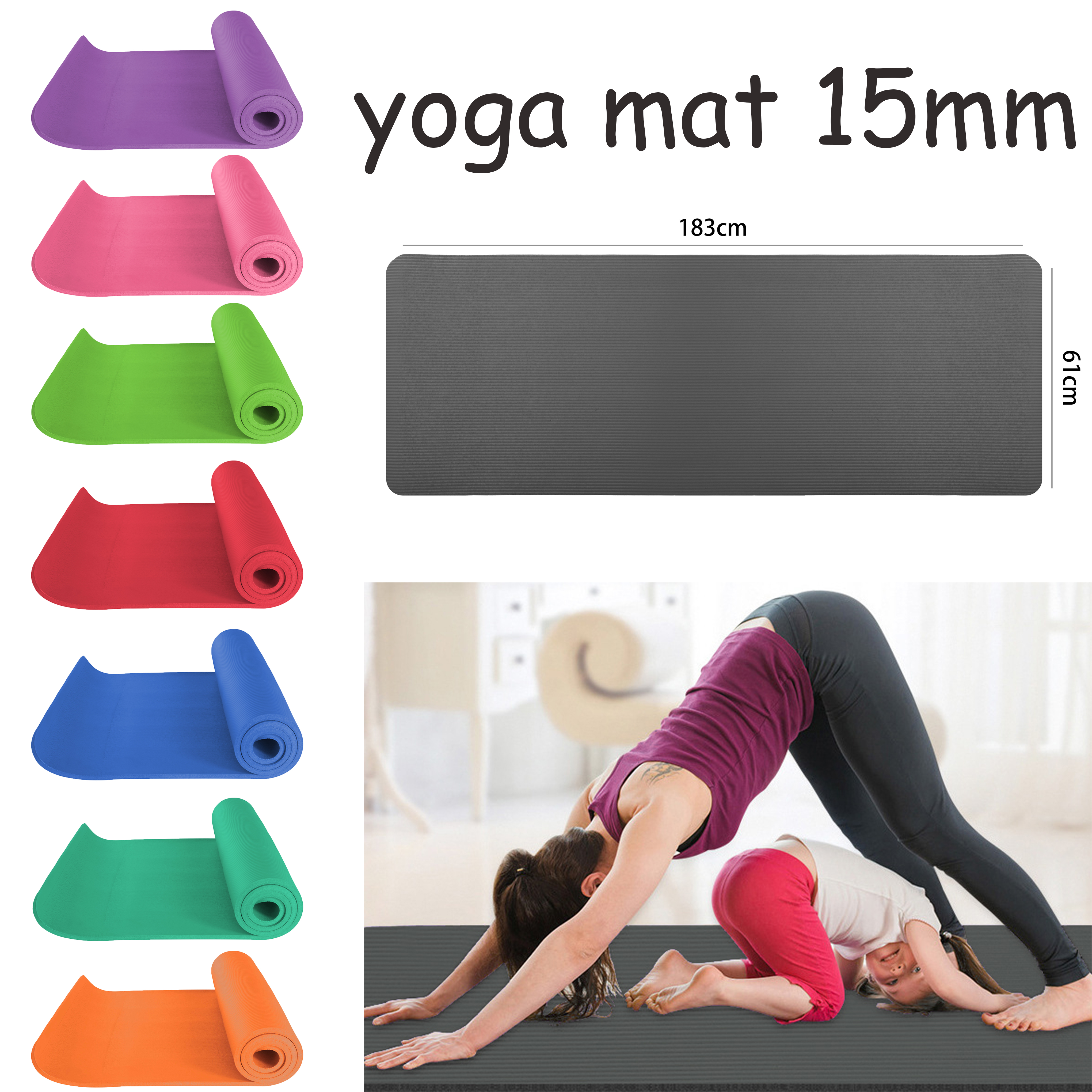Yoga Mat Gym Exercise 10mm Thick Fitness Physio Pilates Carrier Strap 5 Colours