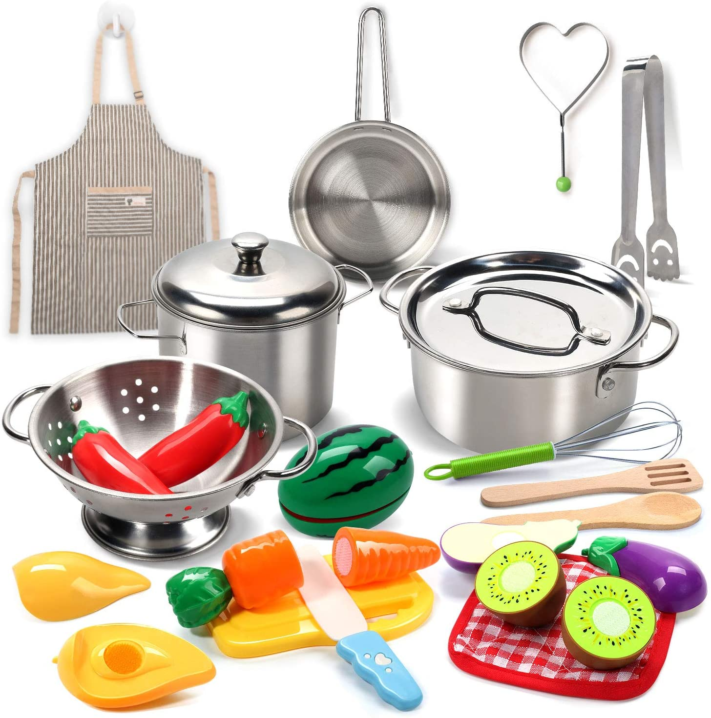 Pretend Play Kitchen Toys Stainless Steel Cookware Pots Pans Set Toy For Kids Ebay