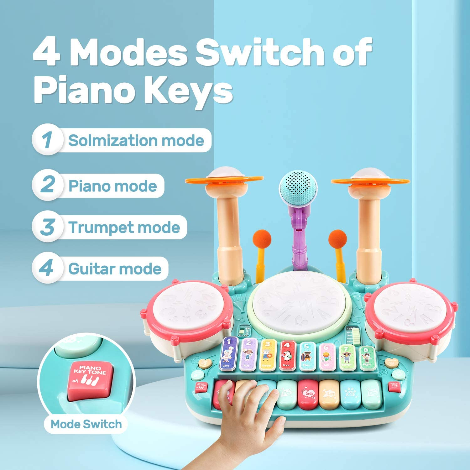 5 in 1 Musical Instruments Toys Kid Electronic Piano Keyboard Xylophone Drum Set