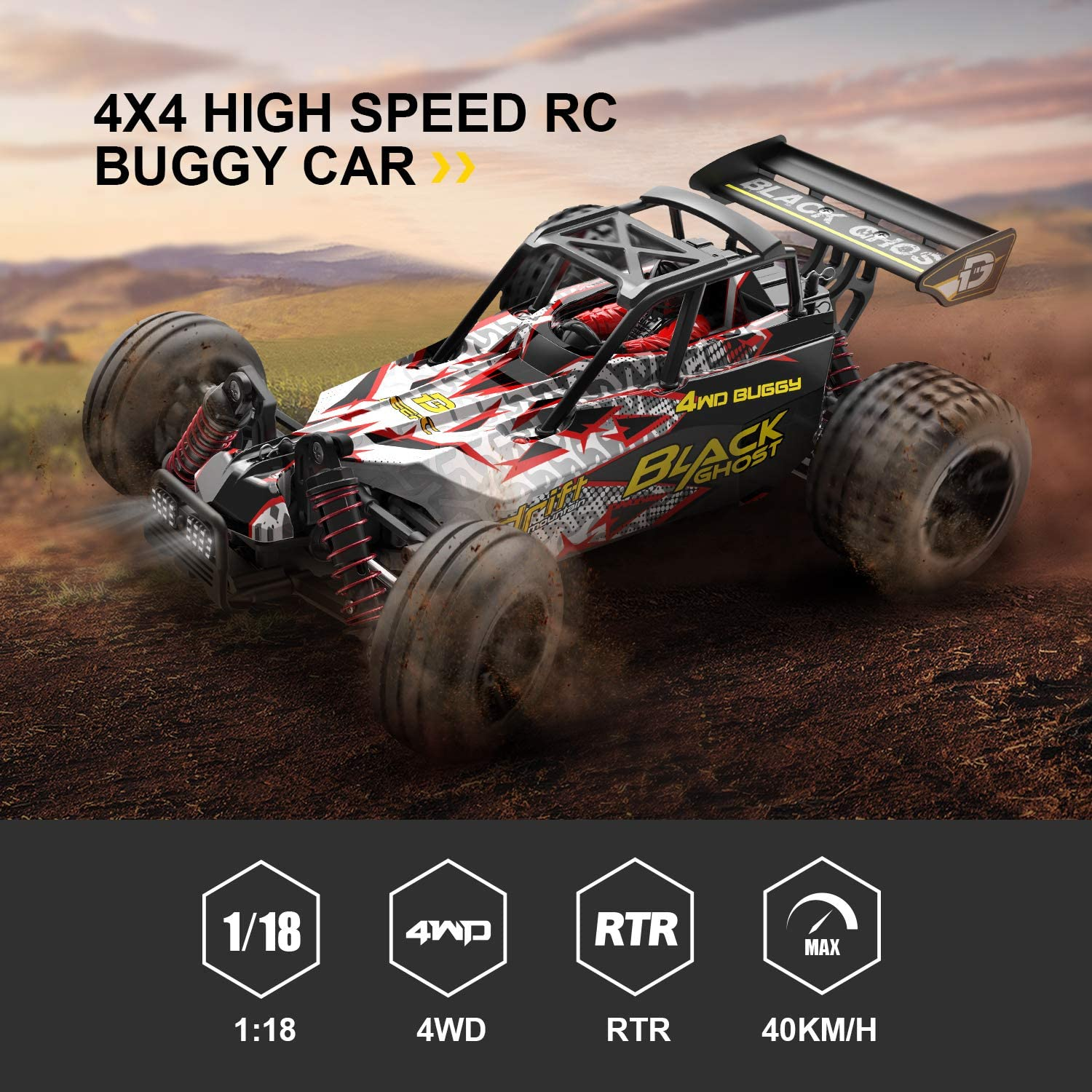 4WD 1:18 DEERC 9305E RC Cars High Speed 25+ MPH Off Road Monster Truck 2 Battery