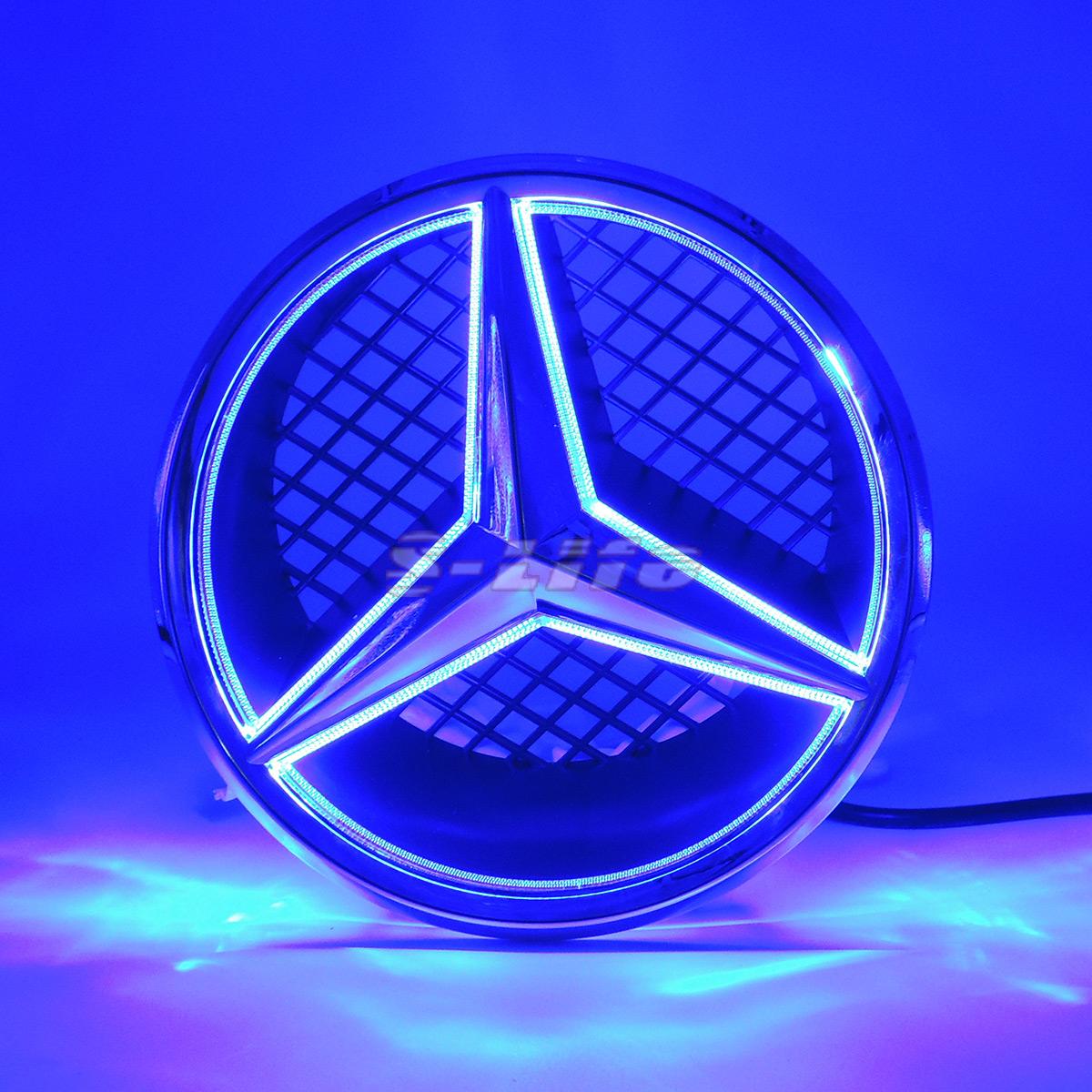 Mercedes Benz B Class W245 2005 2011 Front Bumper Grill: Blue Sport Car LED Front Grille Star Emblem Light For