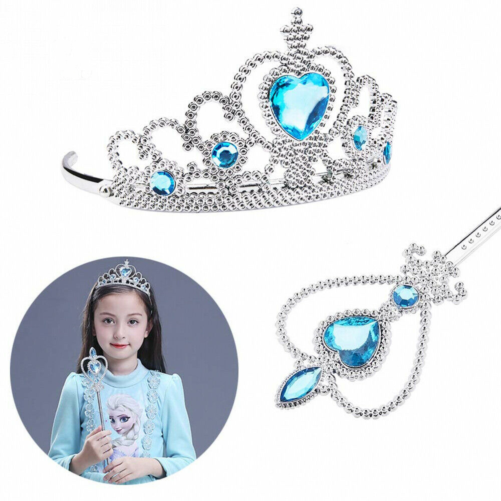 Crystal girl princess wand set dressup facelift crown costume kid pretend toy R