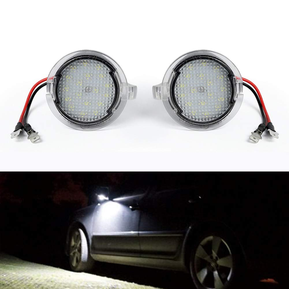2x White LED Side Rear View Mirror Puddle Lights For Ford F150 Raptor 2009-2014