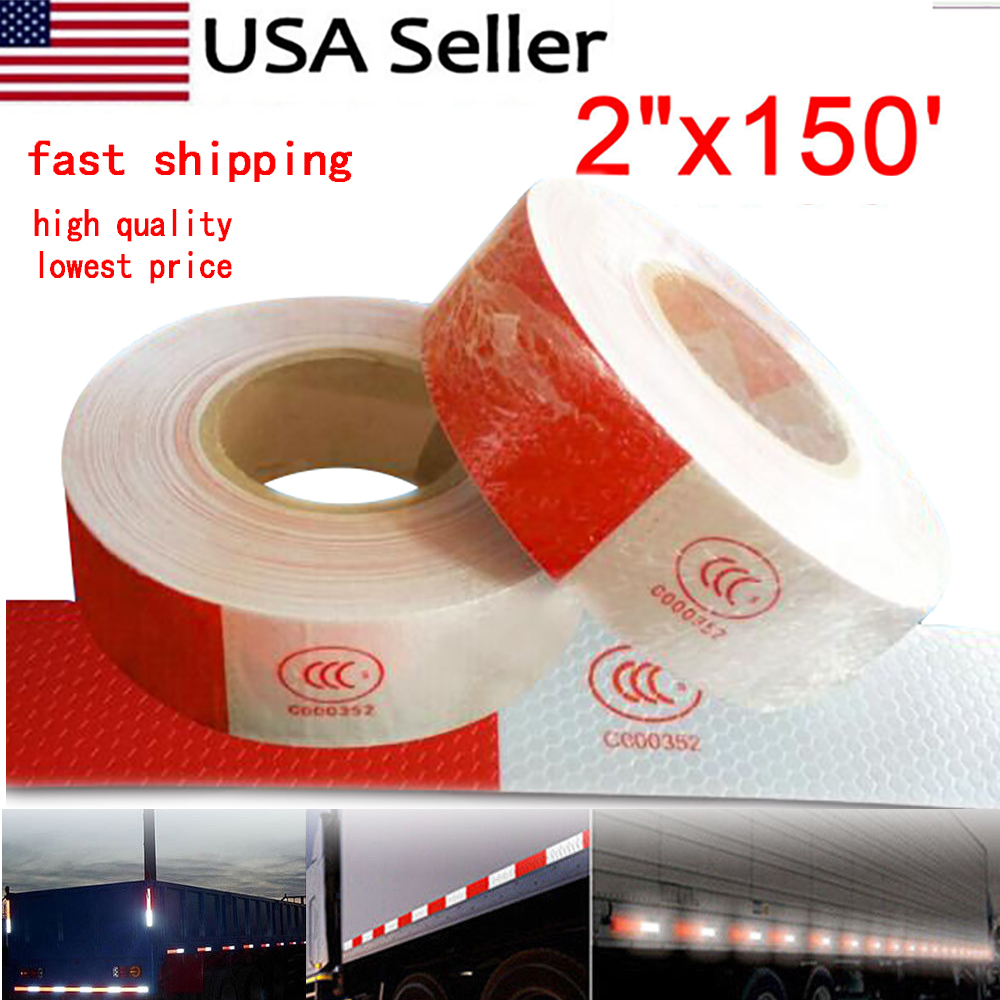 """6/"""" Red /& White CERTIFIED 2/"""" x 150 ft DOT-C2 Reflective Conspicuity Tape Safety"""