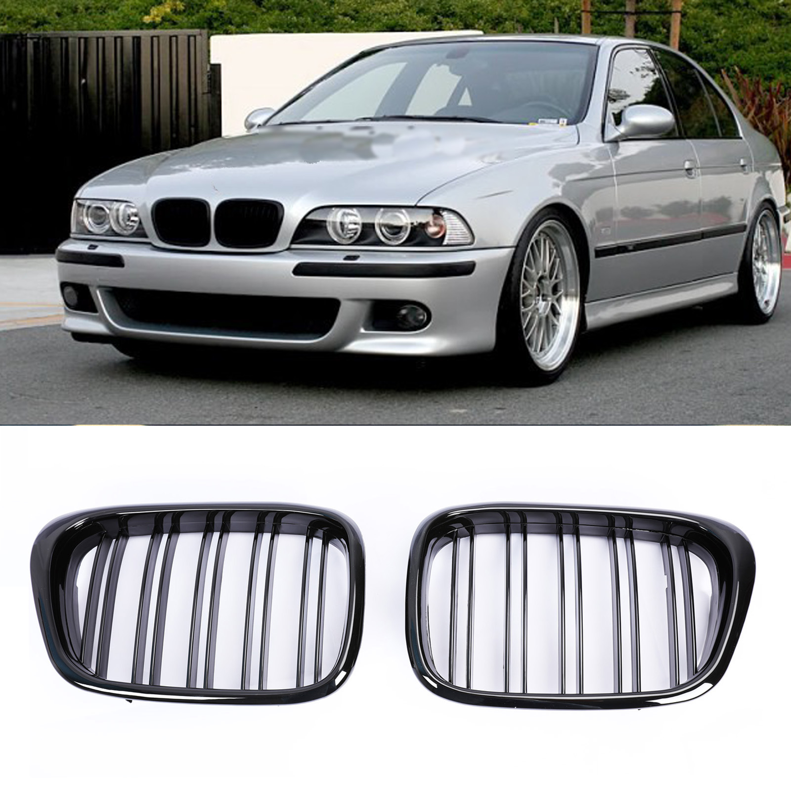 Front Center Grill Black LEFT Fits BMW 5-Series E39 2000-2003
