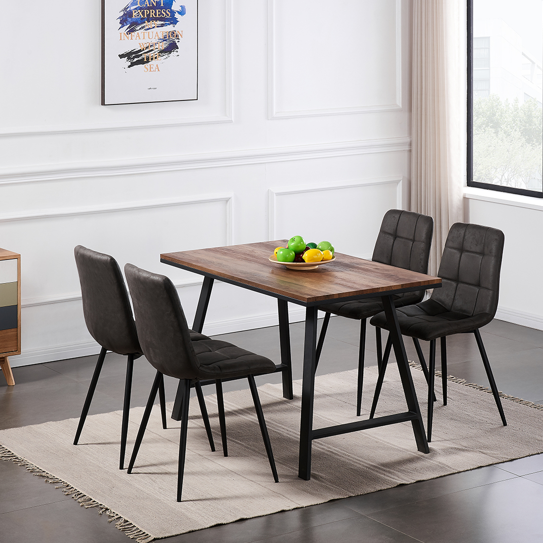 Small Dining Table And Chairs 4 Set Black Metal Leg Dining Room Chair Kitchen Uk Ebay