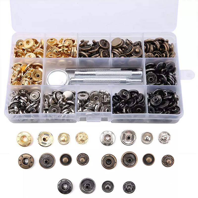 Druckknöpfe 10 x 15mmØ Ringfeder Stoffe Kleidung Textil Werkzeug Nickel Stahl