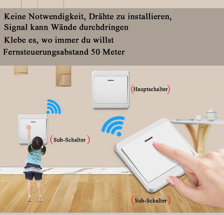 Wireless 230V Funk Schalter Set 433 Mhz Wandschalter Doppel Lichtschalter Taster