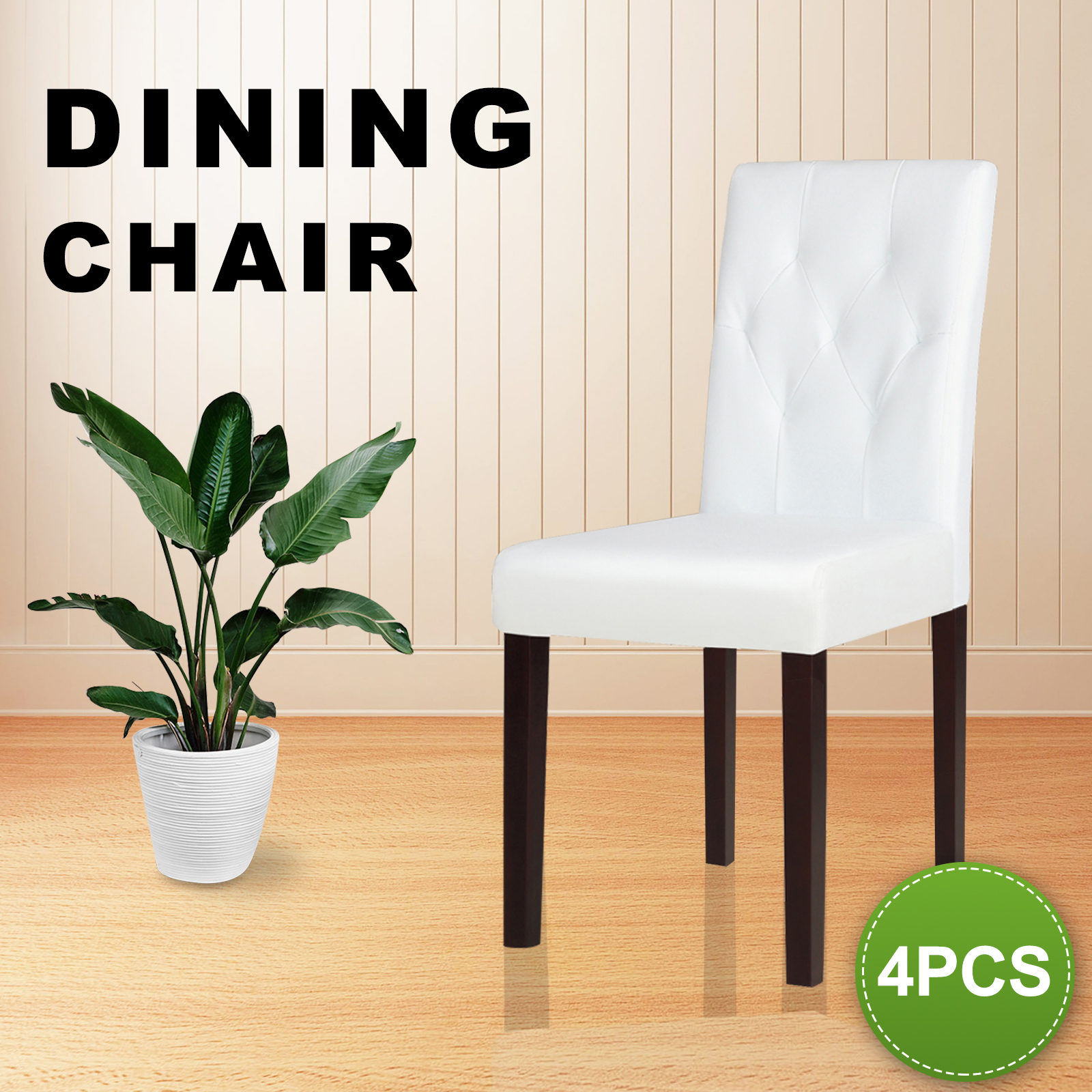 Picture of: 4pcs Dining Chairs Leather Tufted Design Elegant Wooden Kitchen Cafe Chair White Ebay