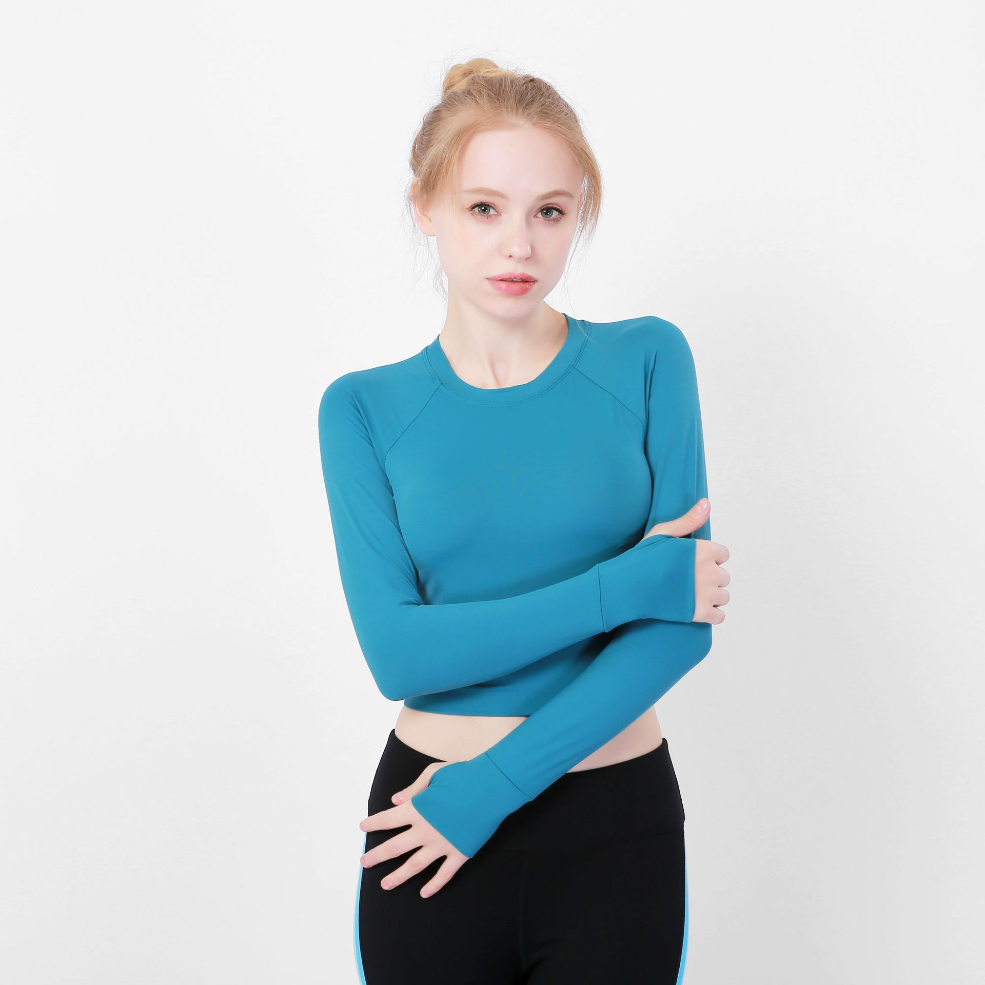 1e1d54abde4aa Details about Women Yoga Shirt Crop Top Style Long Sleeve Workout Fitness  Athletic Sports Gym
