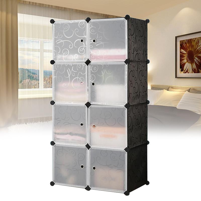 kleiderschrank diy garderobe steckregal regalsystem regal standregal mit t ren ebay. Black Bedroom Furniture Sets. Home Design Ideas