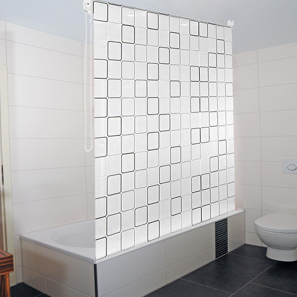 duschrollo duschvorhang badewannenvorhang square bad rollo vorhang klemmstange ebay. Black Bedroom Furniture Sets. Home Design Ideas