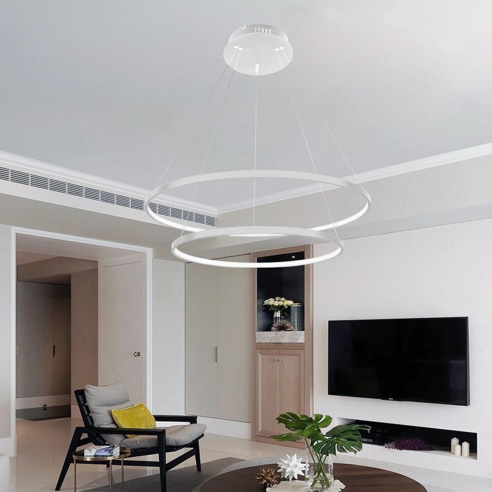 60W LED Kronleuchter Acryl Hängeleuchte Deckenleuchte Lüster Kaltweiß Wohnzimmer