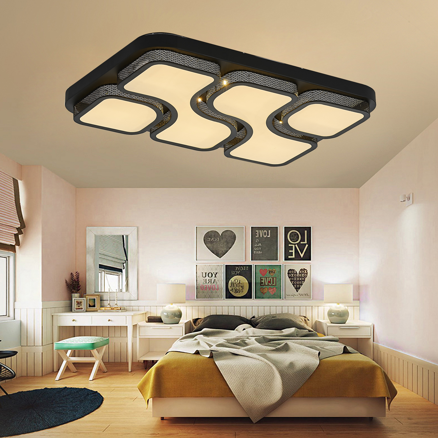 led deckenleuchte schlafzimmer deckenlampe dimmbar wohnzimmer flur design lampe ebay. Black Bedroom Furniture Sets. Home Design Ideas