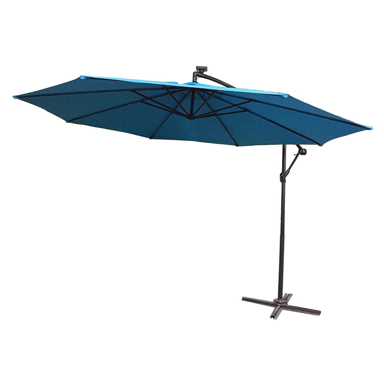 qualit ts sonnenschirm ampelschirm gartenschirm marktschirm kurbel blau 300 cm ebay. Black Bedroom Furniture Sets. Home Design Ideas