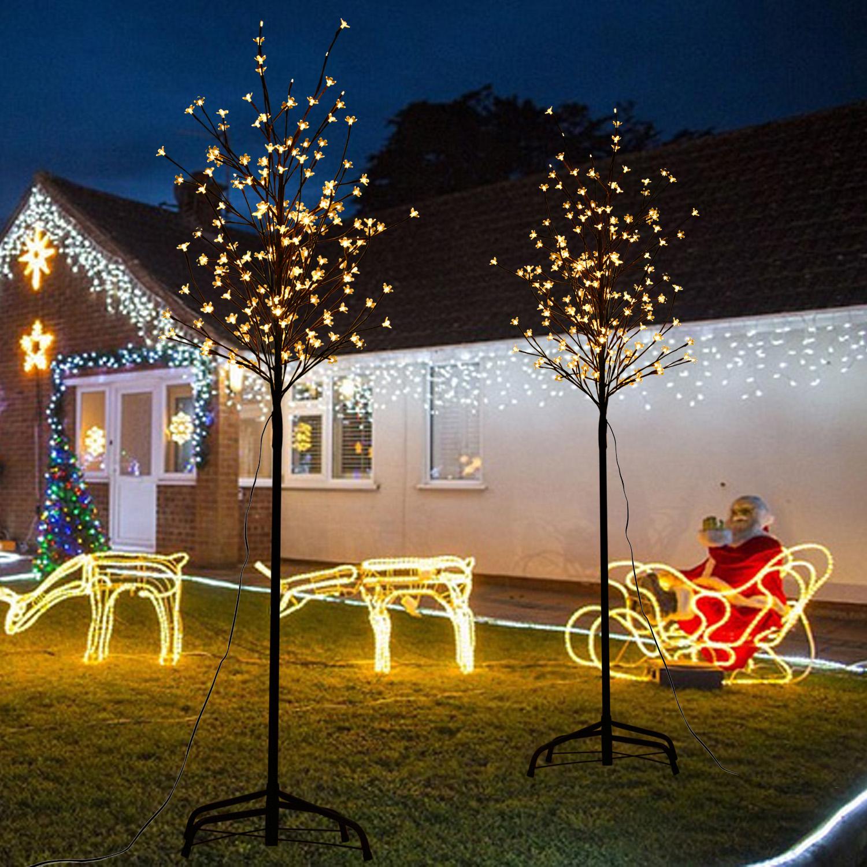 led baum kirschbl tenbaum lichterbaum weihnachtsbaum blumenbaum eisen ip44 ebay. Black Bedroom Furniture Sets. Home Design Ideas