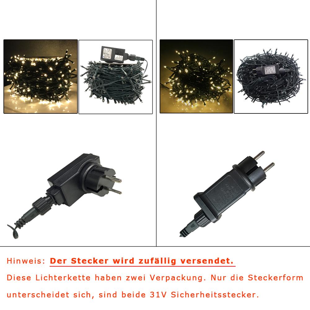 100-1500 LED Warm Lichterkette Weihnachtslichterkette Außen Deko 8 Modi IP44 DHL