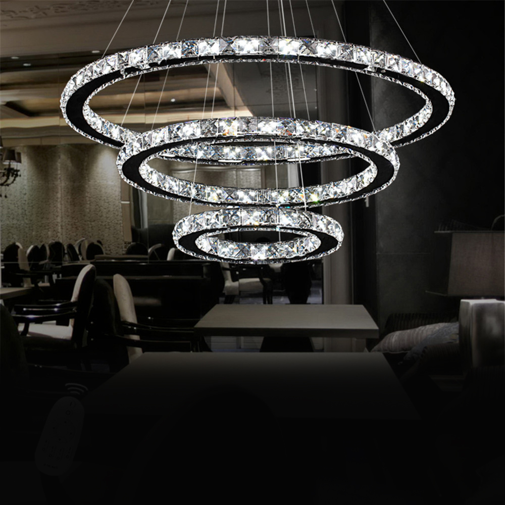 72W Kristall LED Deckenlampe Pendellampe Deckenleuchte Kaltweiß Hängeleuchte Neu