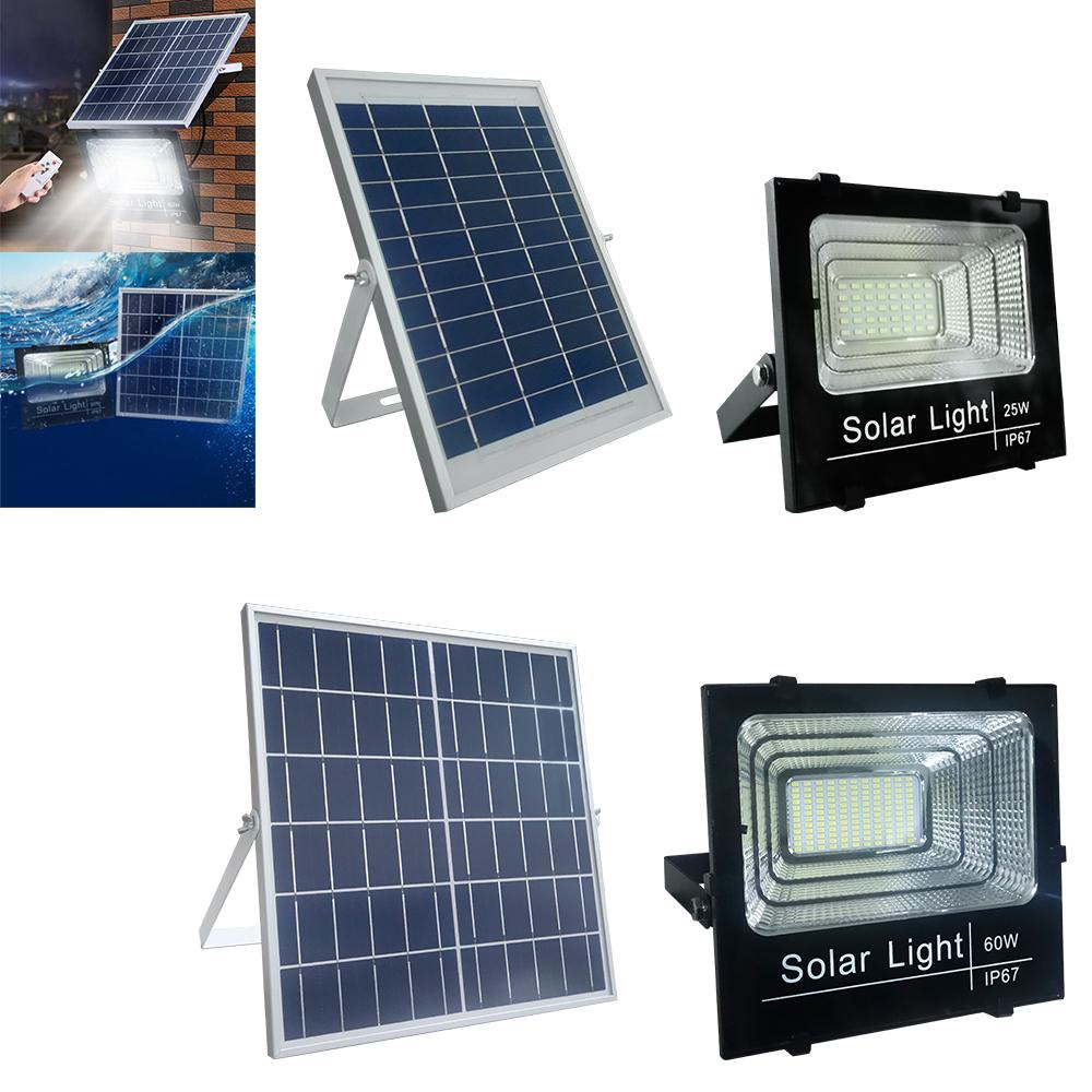 25W 60W LED Solarstrahler Flutlicht Außenlampe Fluter Lichtsensor IP67 Kaltweiß