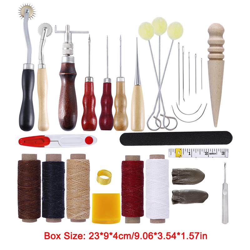 37tlg Leder Werkzeug Ledernadeln Lederhobel Nähen Locher Stechahle Stitching Set