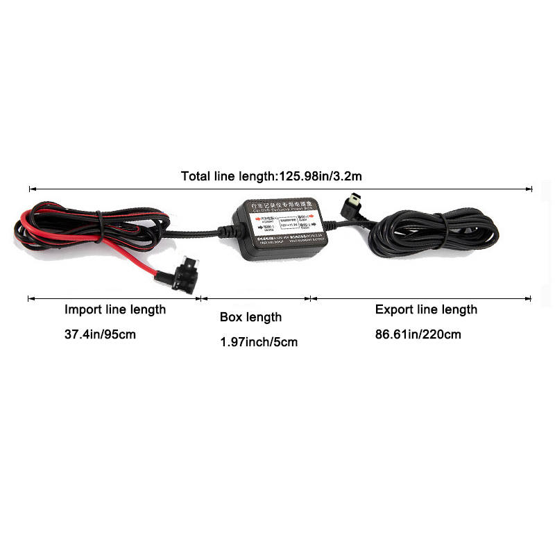 Mini USB Hard Wire Kit Fuse for Car Dash Camera WOLFBOX Hardwire Kit for G840 Mirror Dash Cam