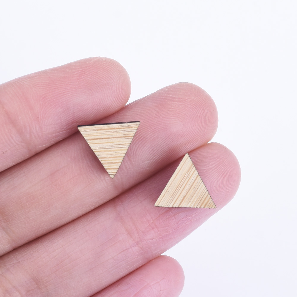 11*10mm Triangle Wood Charm DIY Laser Cut Wooden Earring Charms 6pcs 10261171