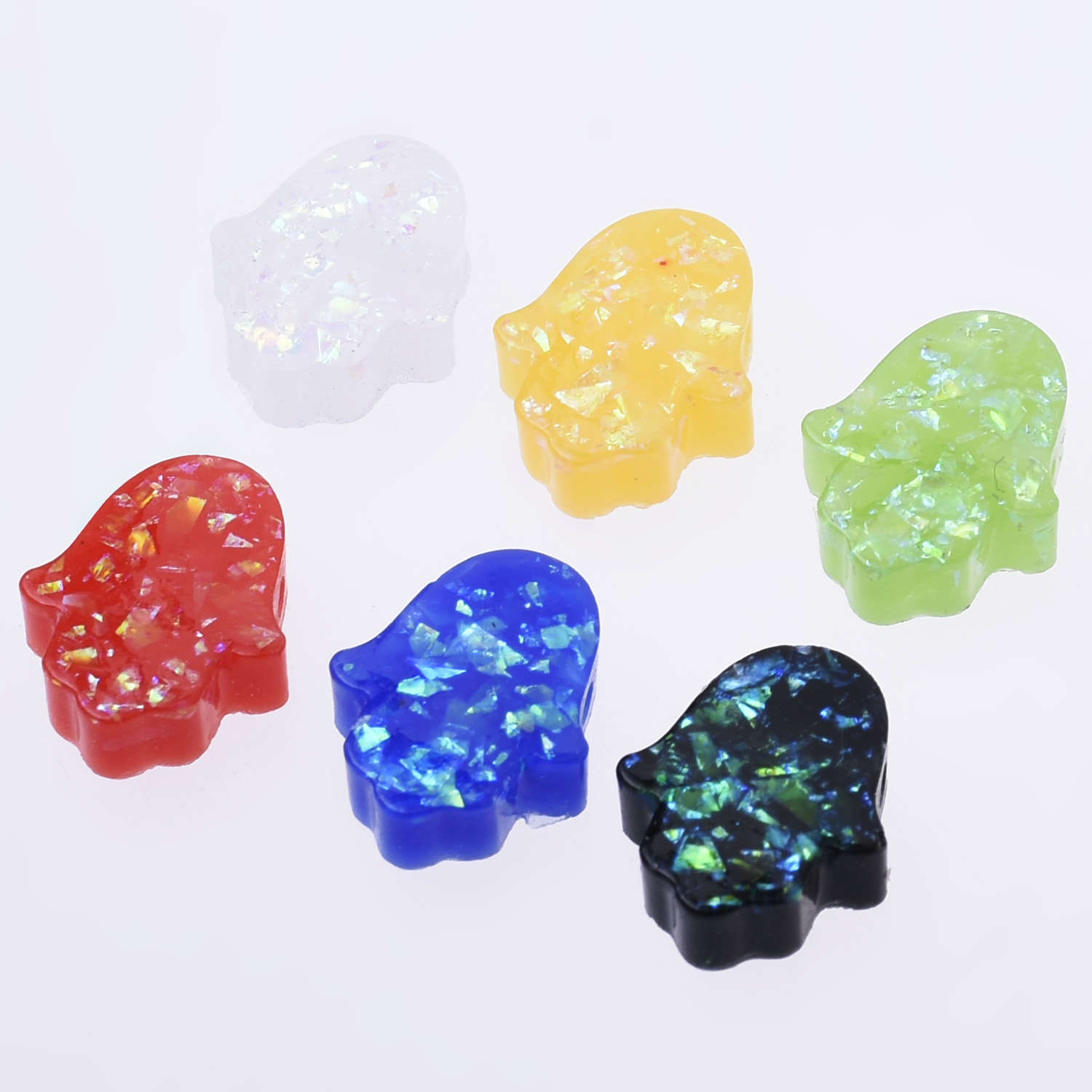 12*14MM Hand Fatima Pendant Resin Mini Hamsa Charm Synthetic beads gifts 20pcs