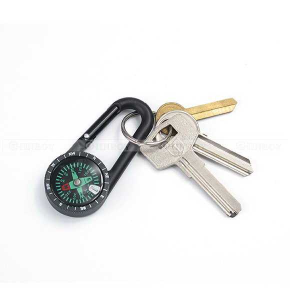 Mini Carabiner Compass Hook Spring Snap Key Ring Clip Outdoor Backpack Buckle