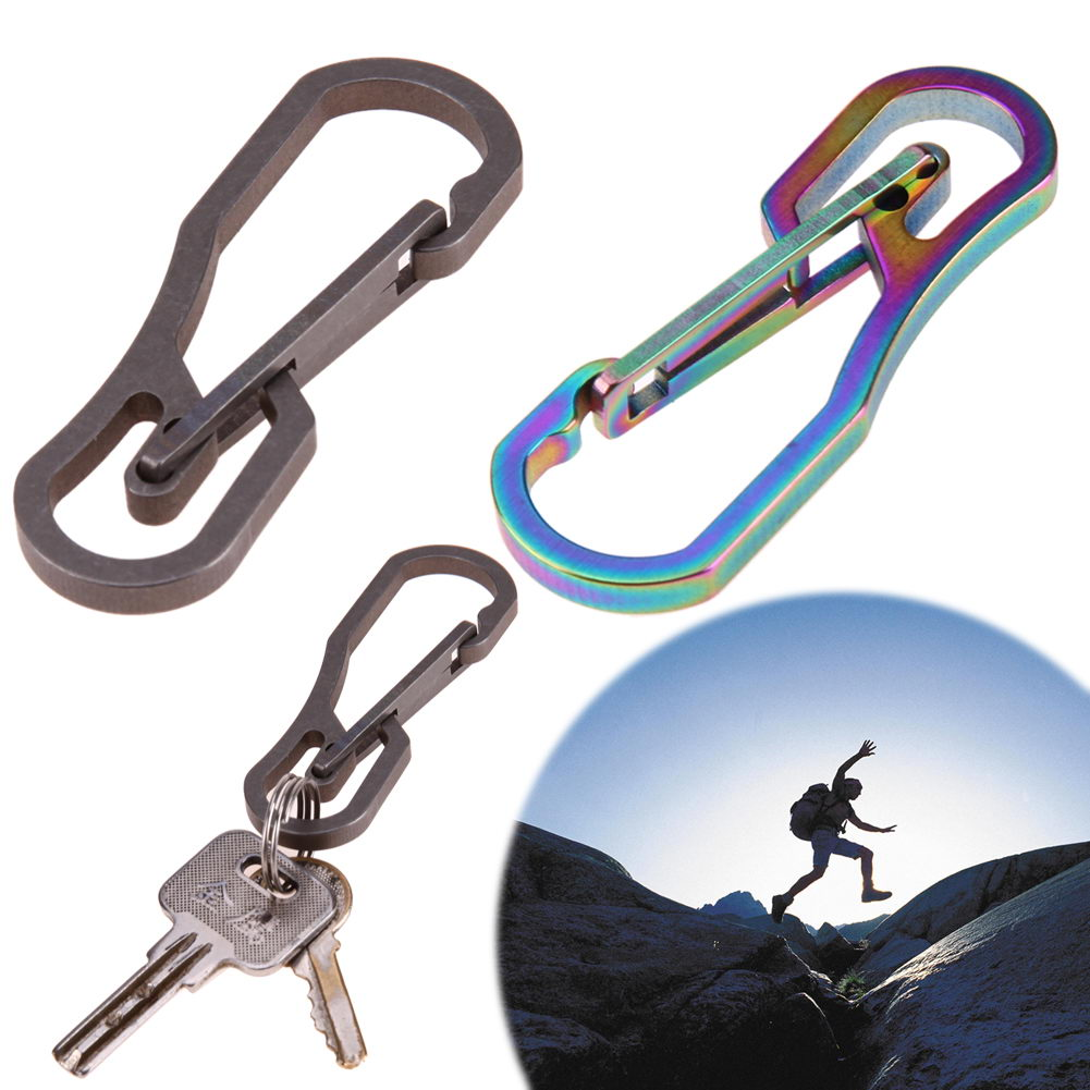 Outdoor Camping Hiking EDC Tool Alloy Titanium Carabiner KeyChain Hook Clip