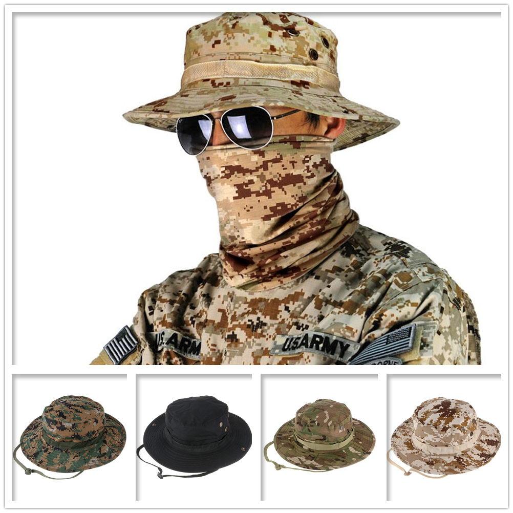 856ae78551b Details about Camouflage Hunter Hat Sniper Hidden Jungle Sports Fishing  Wide Brim Bucket Hat