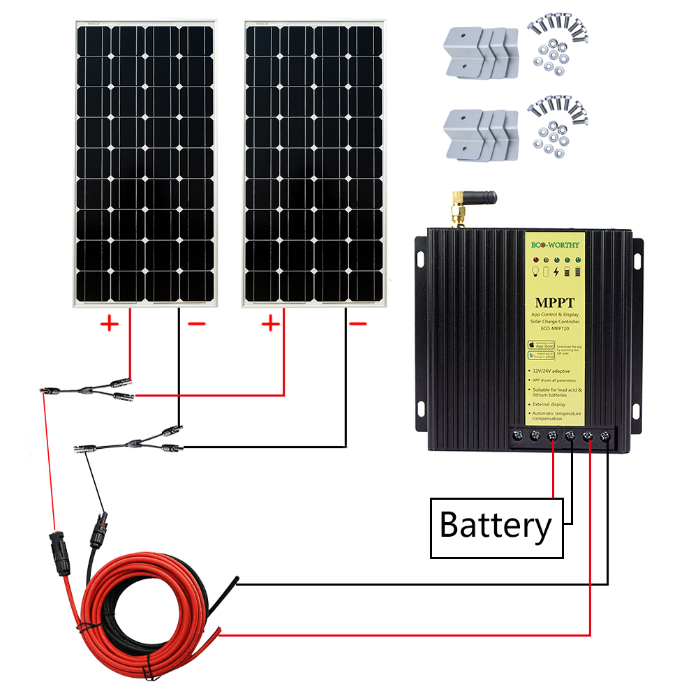 Solar Panel Set 100w Sika Mppt Regler 5m Kabel Dachdurchführung Making Things Convenient For Customers Halter