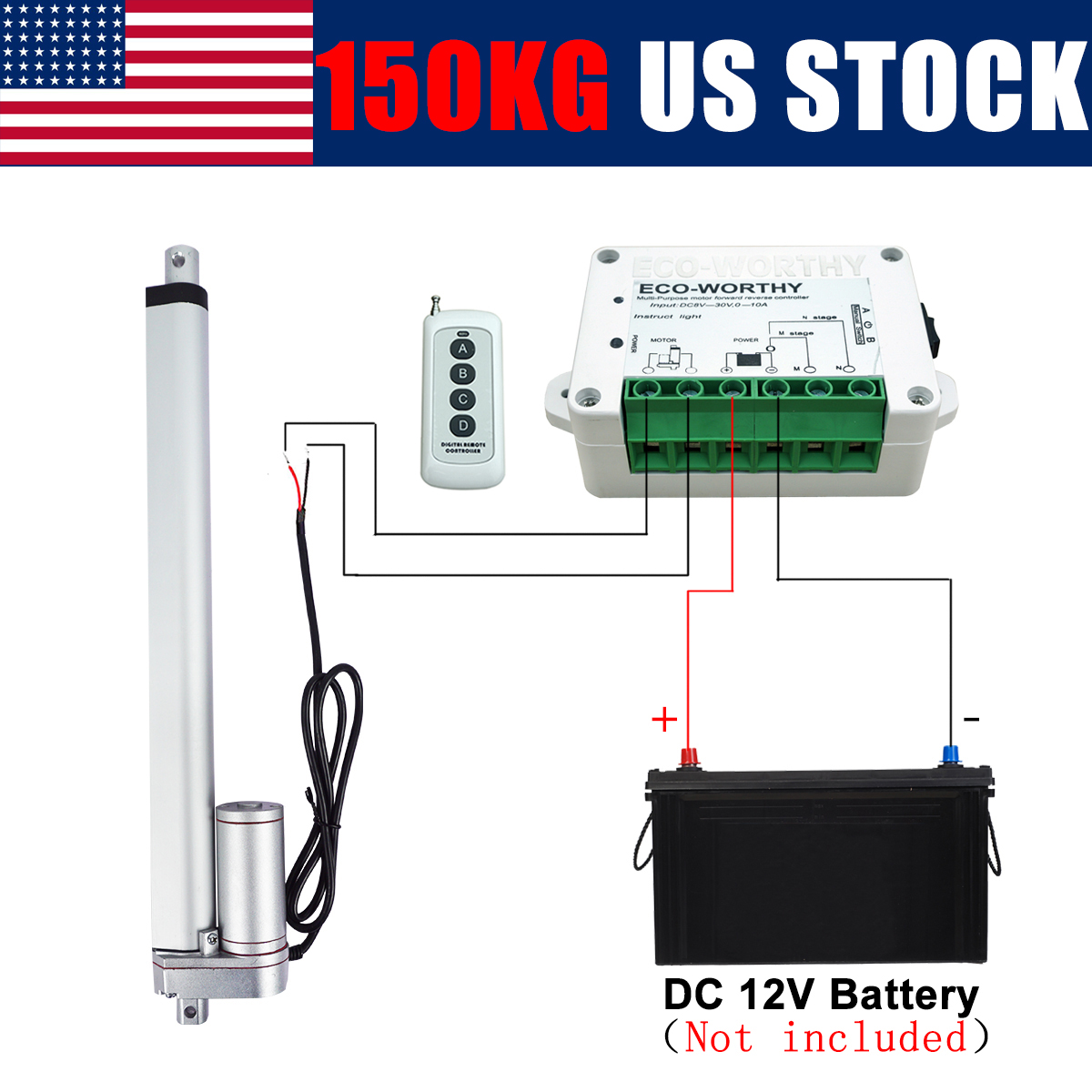"2/""-18/"" Inch Stroke Linear Actuator 1500N//330lbs Pound Max Lift 12V Volt DC Motor"
