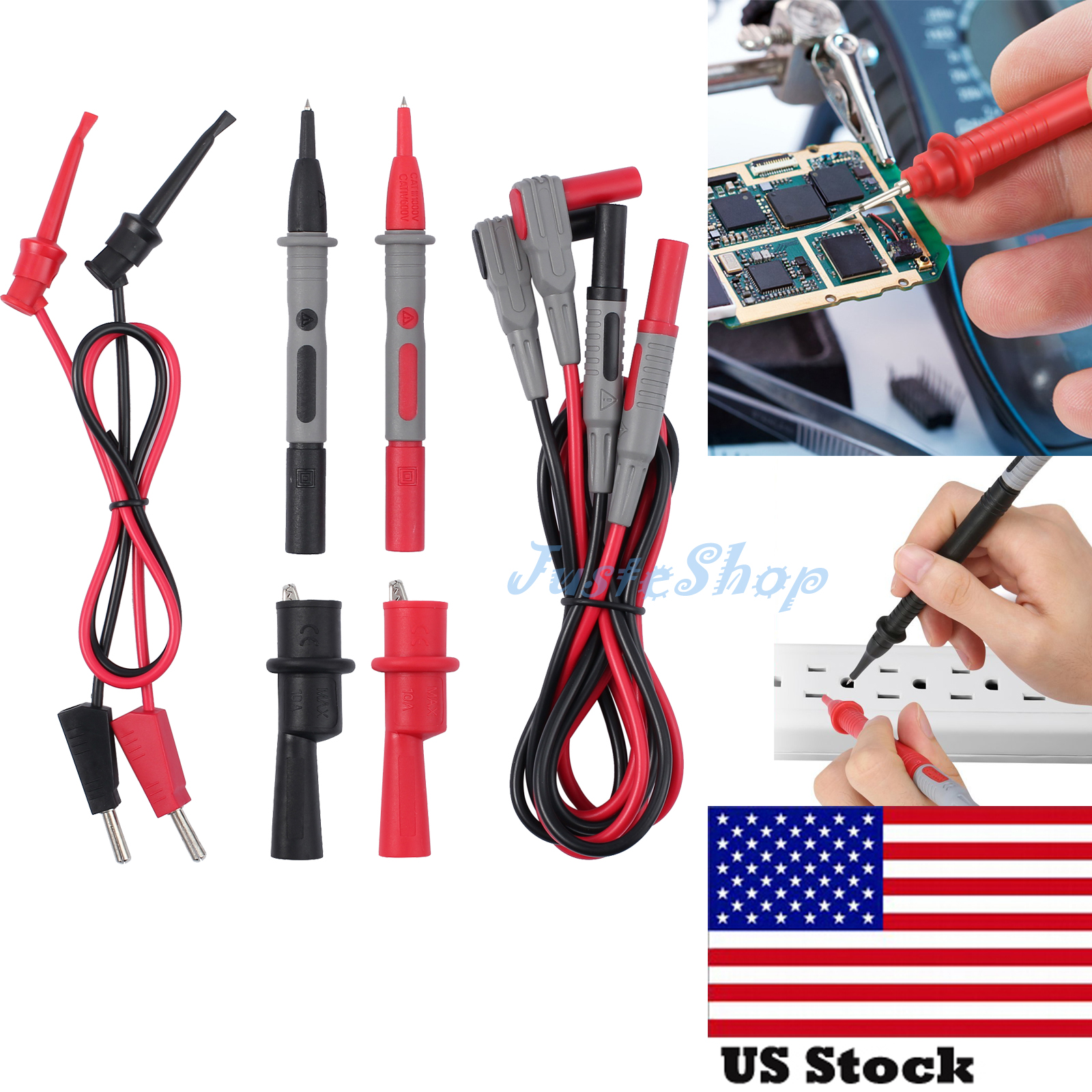Digital Multimeter Probe Test Leads Crocodile Clips Tester Cable Electrical Part