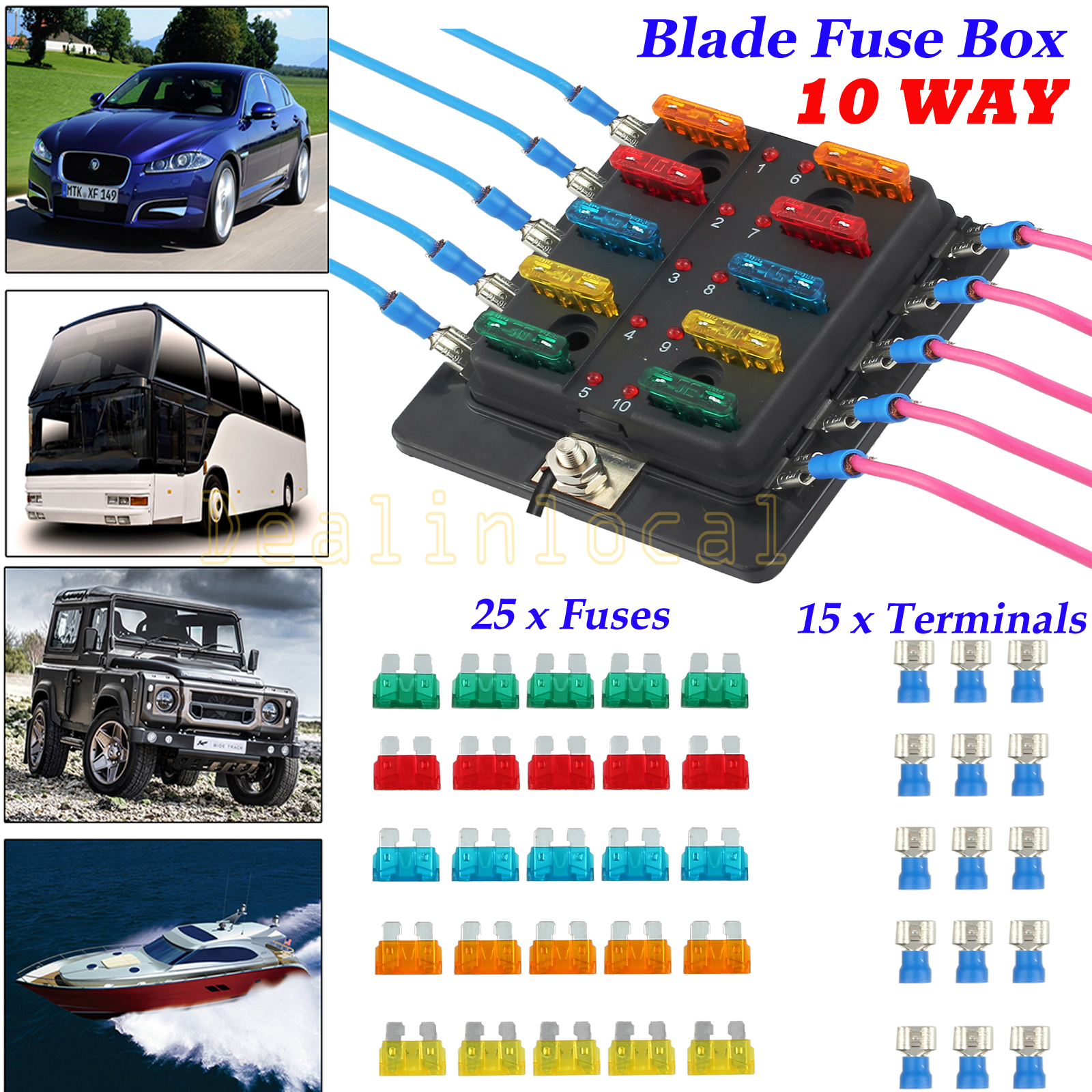 Fuse Box 12 Way Blade Fuses Holder Block with LED Indicator for Boat Van Car Truck Marine