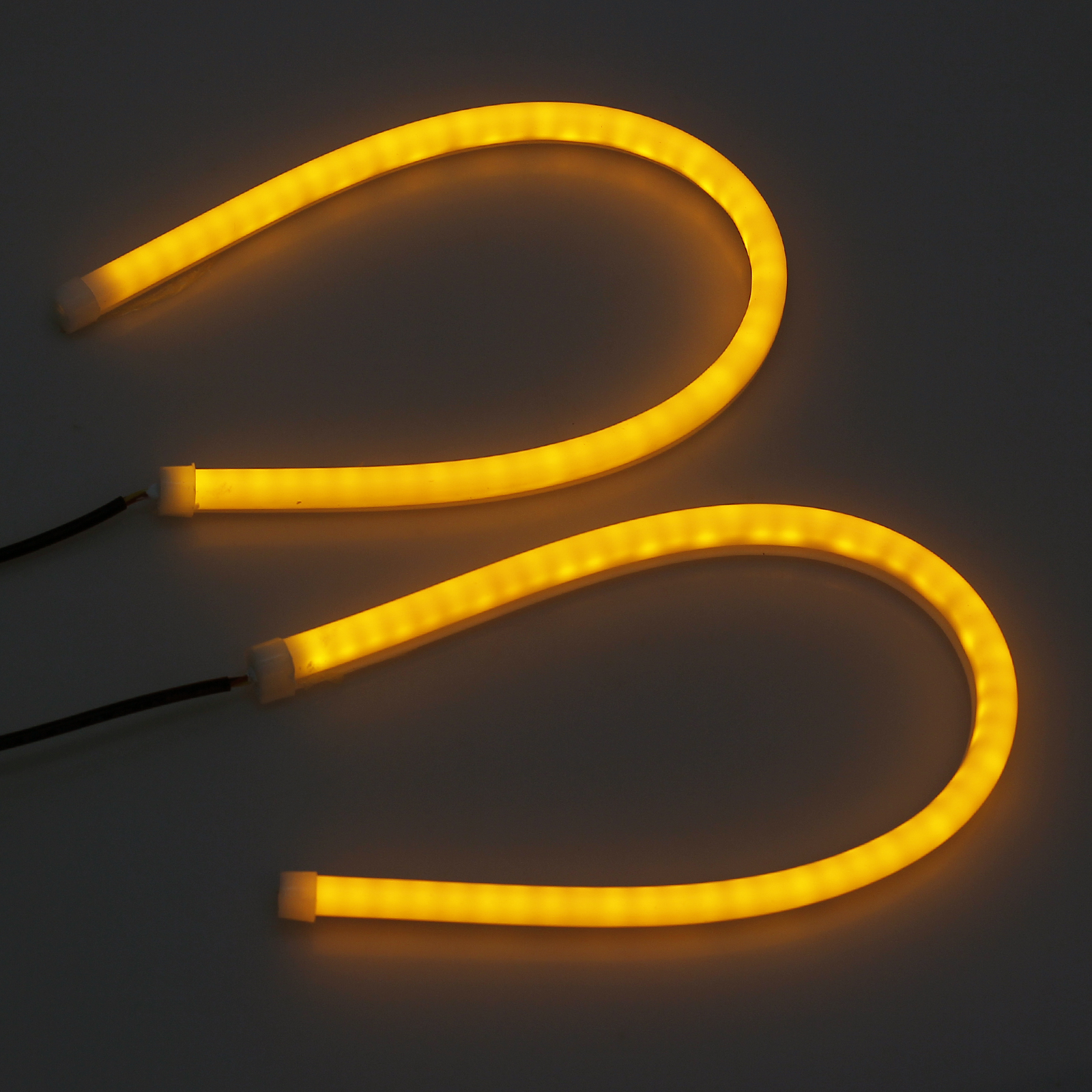 2x 45cm wei amber led auto tagfahrlicht drl strip. Black Bedroom Furniture Sets. Home Design Ideas