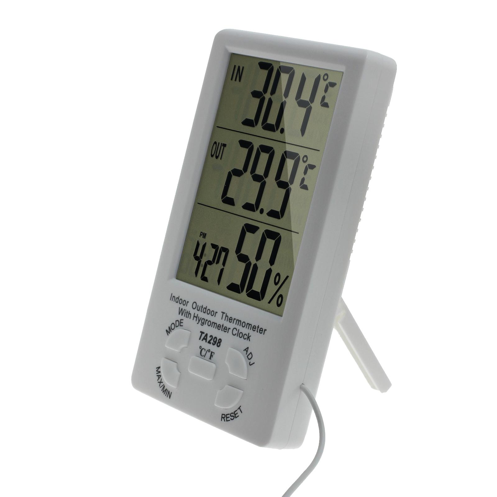 digital innen au en thermometer hygrometer luftfeuchtigkeitsmesser mit sensor ebay. Black Bedroom Furniture Sets. Home Design Ideas