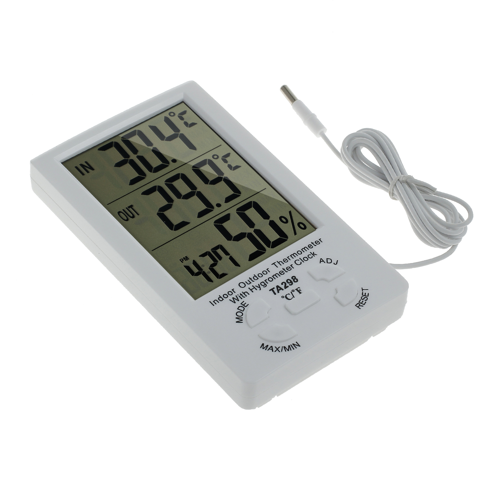 digital innen au en thermometer hygrometer luftfeuchtigkeitsmesser mit sensor ebay. Black Bedroom Furniture Sets. Home Design Ideas