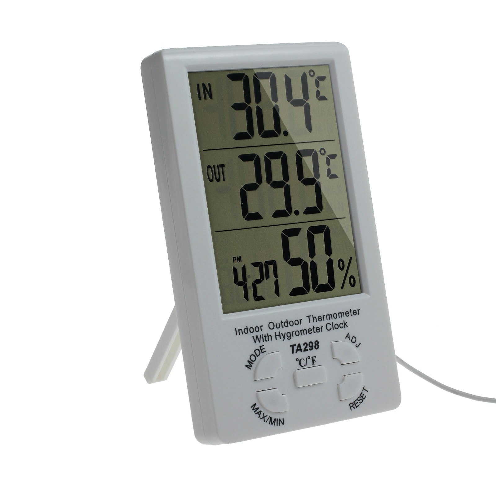 innen au en thermometer hygrometer au enf hler sensor messer mit uhr lcd digital ebay. Black Bedroom Furniture Sets. Home Design Ideas