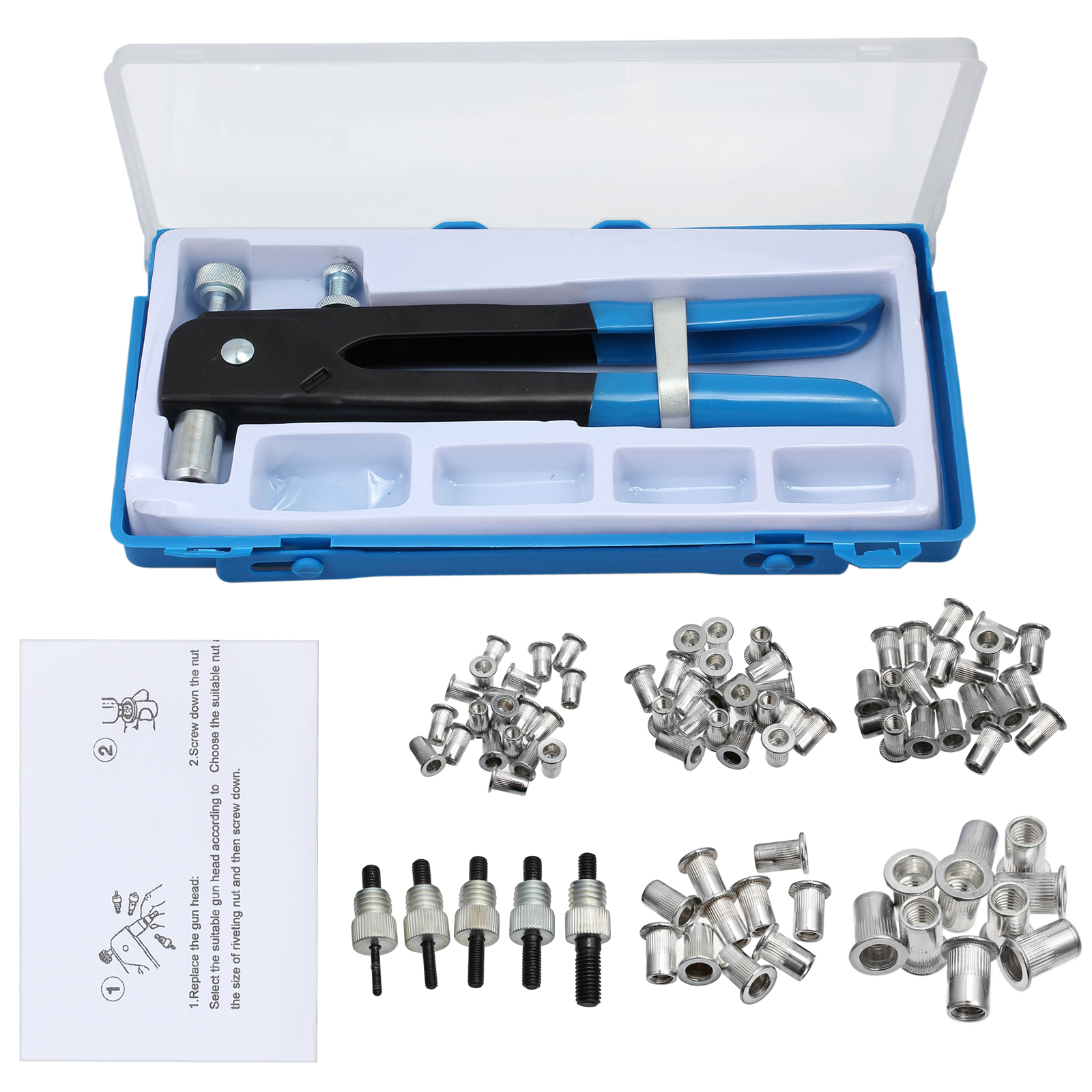 Details about 86pcs Threaded Nut Rivet Tool Riveter Rivnut Nutsert Gun  Riveting Kit M3-M8