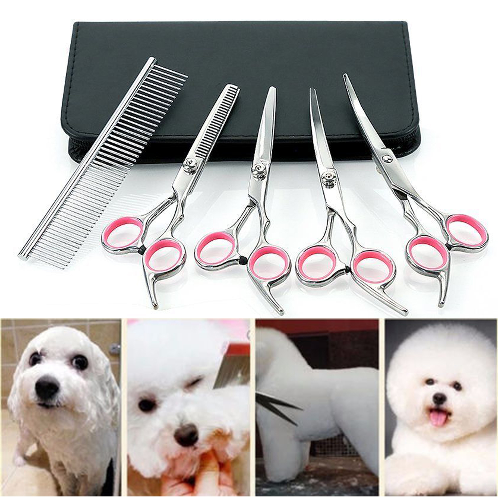 6 Professional Hair Cutting Scissors Pet Dog Grooming Kit Curved