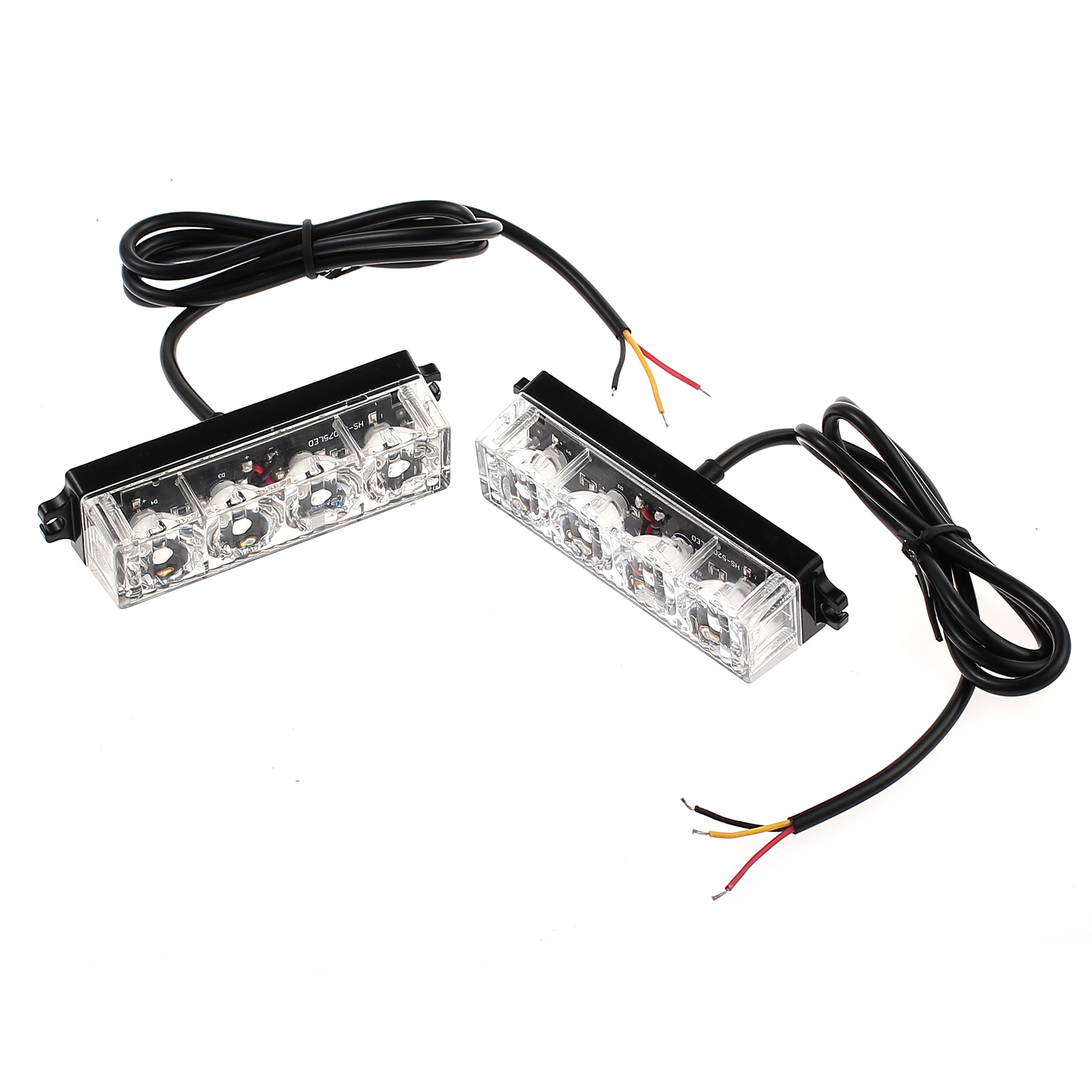 2x 4led 12  24v amber strobe flashing recovery lightbar