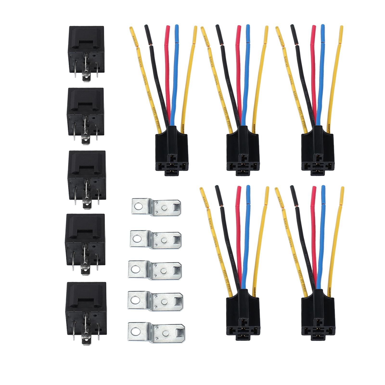 5x dc 12v 40a amp relay socket spdt 5 pin 5 wire for car. Black Bedroom Furniture Sets. Home Design Ideas
