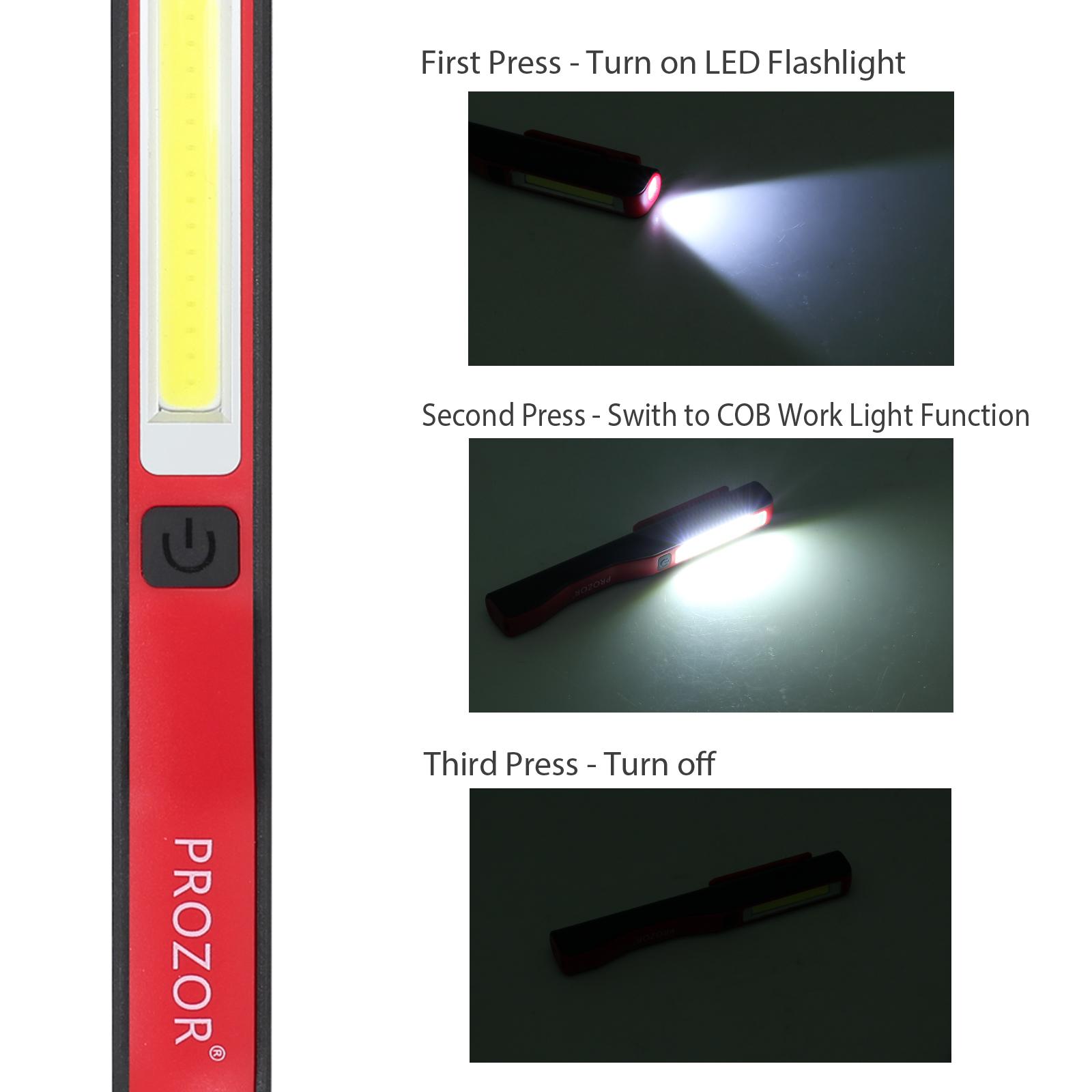 USB Aufladbar Arbeit Inspektion Taschenlampe Licht Tasche Clip Magnet Led Kolben